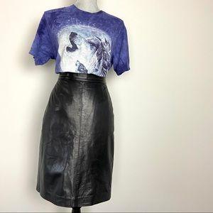 Vintage black leather pencil skirt high waisted